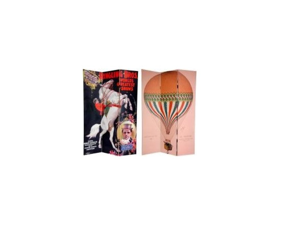 Functional Art/Photography Printed on a 6ft Folding Screen - 3 panel 6ft folding screen with double sided images. The front is a lithograph of the famous hot air balloon Le Tricolore. It features the signature of Jules Duruof, the daring balloonist.   The back is an invitation to the Greatest Show on Earth, the Ringling Bros. Circus.