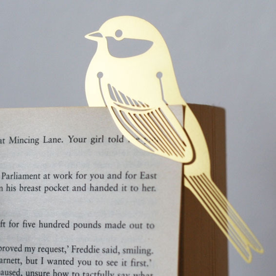 Gold Bird Metal Bookmark modern accessories and decor