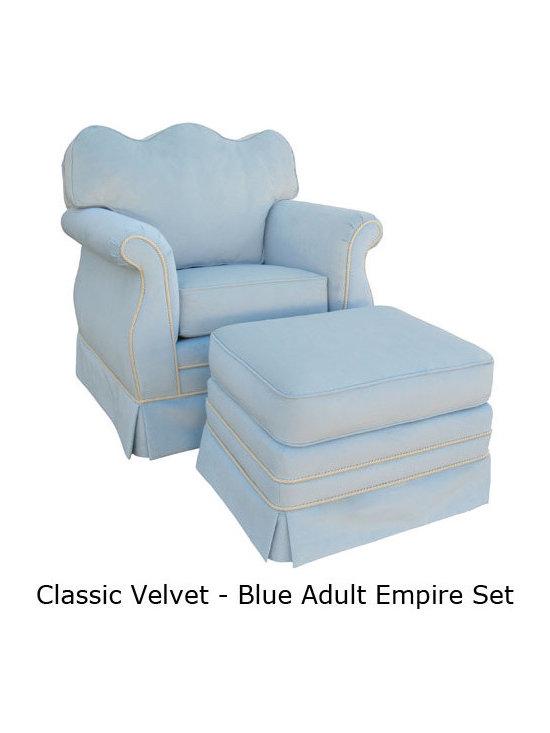 Classic Blue Velvet Nursery Glider Rocker - Classic Velvet Blue Adult Empire Glider Rocker Chair - Foam or Down
