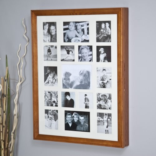 Collage Photo Frame Wooden Wall Locking Jewelry Armoire - 23W x 30H x ...