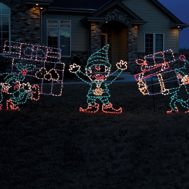 Set of three outdoor lighted elves frontgate outdoor Traditional outdoor christmas decorations