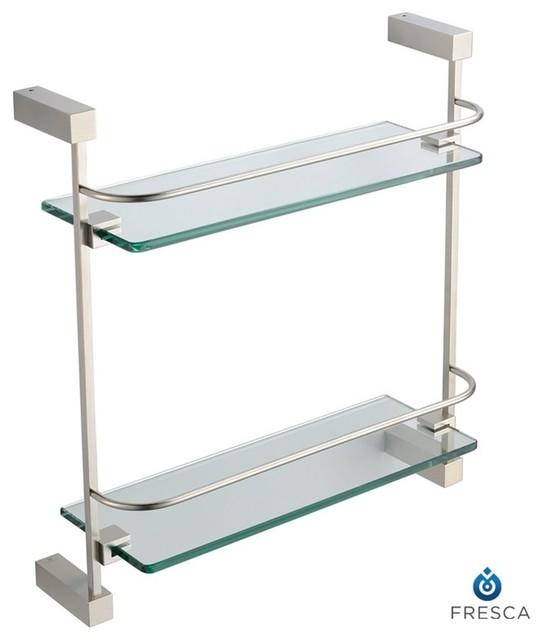 fresca ottimo 2 tier glass shelf brushed nickel modern. Black Bedroom Furniture Sets. Home Design Ideas