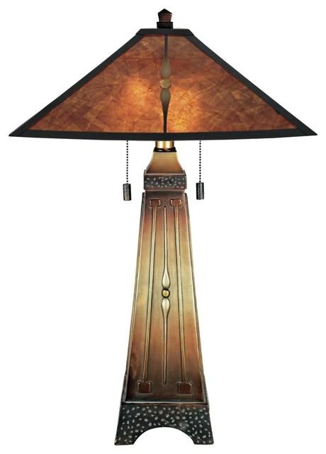 arts and crafts style mica desk lamp. Black Bedroom Furniture Sets. Home Design Ideas