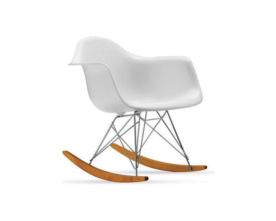 Eames Molded Plastic Rocker, White, Chrome/Maple Base - It's a classic for a reason!  This Eames rocker is ideal in a nursery, a bedroom, a playroom or in my home...our family room.  I move it around the house and honestly like it anywhere.