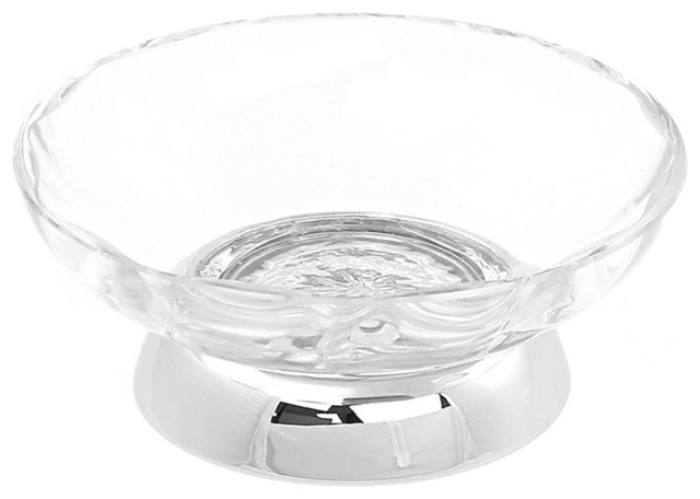 Circular clear glass countertop soap dish contemporary for Clear glass bathroom accessories