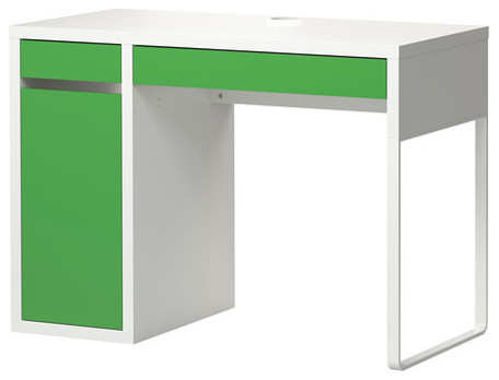 Micke desk white green modern desks and hutches by ikea for White desk with hutch ikea