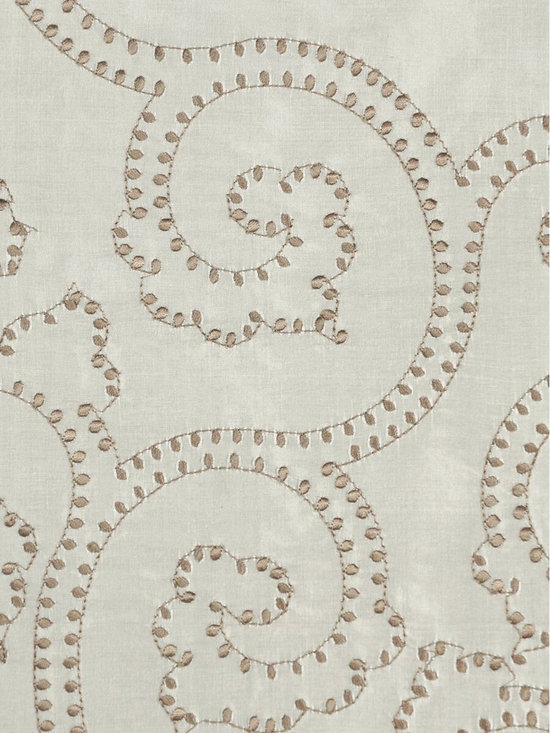 Scroll Custom Made Embroidered Dupioni Silk Curtains - The embroidered scroll damask provides a striking texture against the silk background. Curtains create a luxurious and opulent touch to any room.