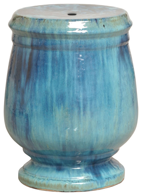 Turquoise Blue Urn Shaped Coastal Beach Ceramic Garden