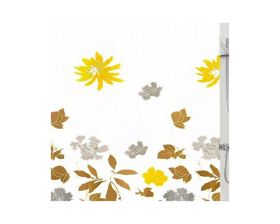 Alice Luxury Fabric Shower Curtain from Vita Futura - Our Alice fabric shower curtain features a beautiful large print foilage on a solid white background with flowers in bright orange yellow to silver grey and soft grey, to soft taupe / brown tones over a white background. All of the fabric shower curtains we offer feature heavy-duty plastic grommets / eyelets and have a weighted hem to assist in keeping the shower curtain in place while in use. Much like the shower curtains you find in many luxury hotels and spas, this shower curtain does not require the use of a shower curtain liner.  Made of quick-dry and easy-care  fabric.  As with all of our products, our Alice shower curtain is designed and produced in Germany.
