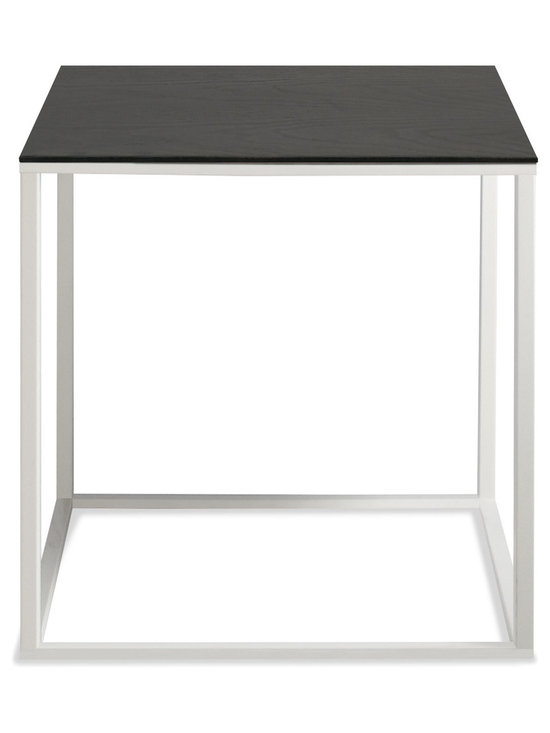 Blu Dot - Blu Dot Minimalista Side Table, White / Graphite on Oak - Nothing but the bare essentials here. Sublime stainless steel gently supports your choice of top. Available in graphite-on-oak, marble and walnut.