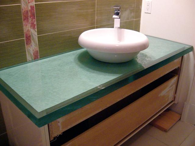 "Fused glass countertop 2"", verre fusion comptoirs craftsman"