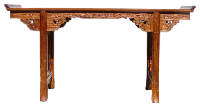 Chinese yellow rosewood ru yi dragon long altar console for Sofa table yellow