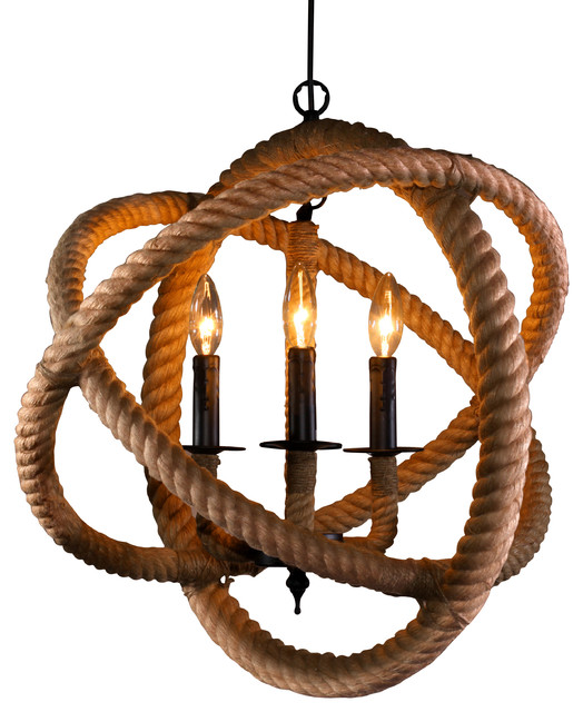 Warehouse Of Tiffany S Rope Enclosed 3 Light Chandelier Beach Style Chandeliers By