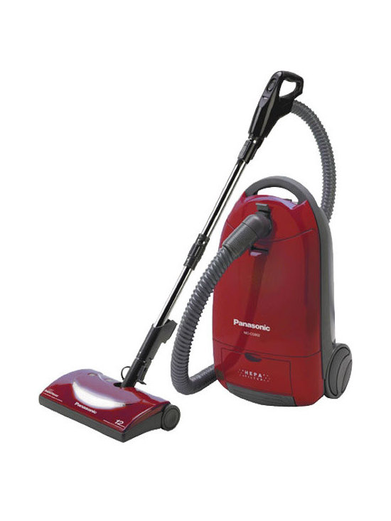 """Panasonic Consumer - Panasonic MC-CG902 Full Size Bag Canister Vacuum Cleaner, Burgundy - Canister Vacuum with HEPA Filter; """"Best Buy"""" rating in latest Consumer Report; Multiple tool attachments are recessed on top of the canister for easy access during cleaning; No time is wasted searching for the tool you need; Just lift the cover and its right within your reach; Agitator and suction motors offer combined 12 amps of cleaning performance; with the touch of a button the agitator is shut off for an easy transition to safe bare floor cleaning; A single touch activates the cord rewind mechanism making storage easy and convenient; Convenient carrying handle provides easy maneuverability and transportation."""