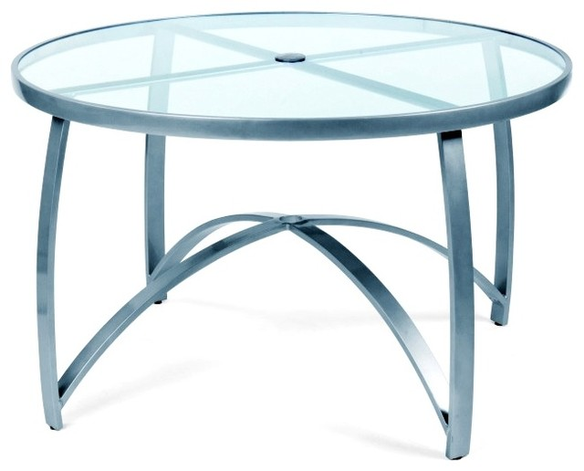 Round Glass Dining Table 48 Inches: Wyatt Mesh 48 In. Round Umbrella Table W Smoked Glass Top