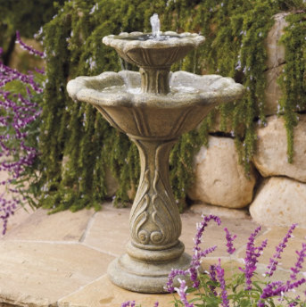 Avery Two-tier Solar Fountain traditional-outdoor-fountains-and-ponds