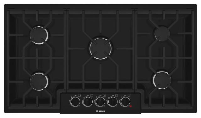 "Bosch 500 Series 36"" Gas Cooktop, Black | NGM5664UC cooktops"