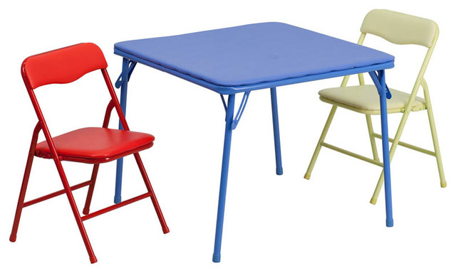 Kids Colorful 3 Piece Folding Table and Chair Set Contemporary Kids Table