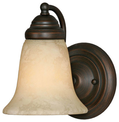 Centennial Rubbed Bronze One-Light Bath Fixture with Tea Stone Glass traditional-bathroom-vanity-lighting