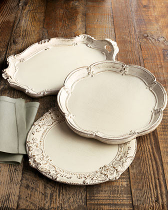 Scalloped Fleur-de-Lis Charger traditional-serving-utensils