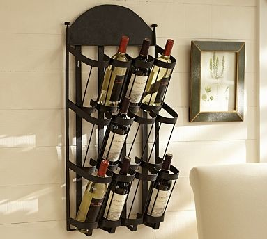 Vintners Wall-Mount Wrought-Iron Wine Rack - Traditional - Wine Racks - by Pottery Barn