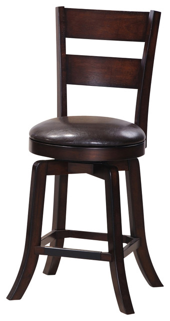 Steve Silver Gimlet Ladderback Swivel Stool In Espresso