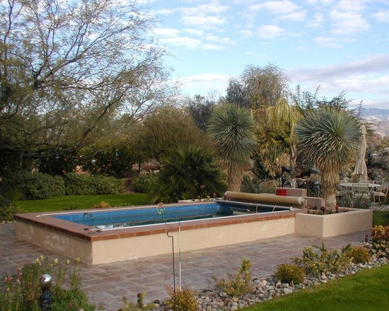 Original Endless Pools®, Garden Swimming Pool - Dense landscaping defines this simple Endless Pool installation. With its compact design, it's easy to heat for year-round swimming against its fully adjustable current.