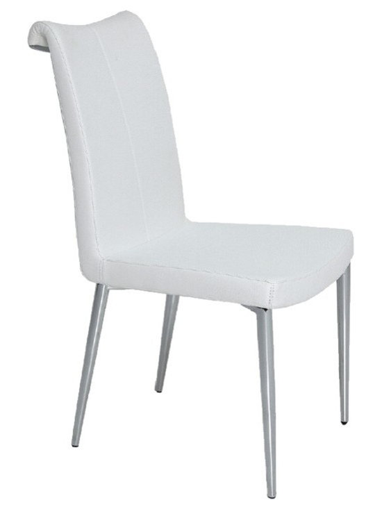 """Tulip Dining Chair by sohoConcept - Tulip is an elegant dining chair with a comfortable upholstered seat and backrest on chromed steel tube legs which are plastic tipped. The curved backrest is trimmed with a chromed steel part that makes the chair look more elegant. The seat has a steel structure with """"S"""" shape springs for extra flexibility and strength. This steel frame molded by injecting polyurethane foam. Tulip seat is upholstered with a removable velcro enclosed leather, PPM or wool fabric slip cover. The chair is suitable for both residential and commercial use."""