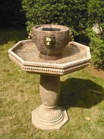 Smart Solar Milano Lion's Head Solar on Demand Estate Fountain traditional-outdoor-fountains-and-ponds
