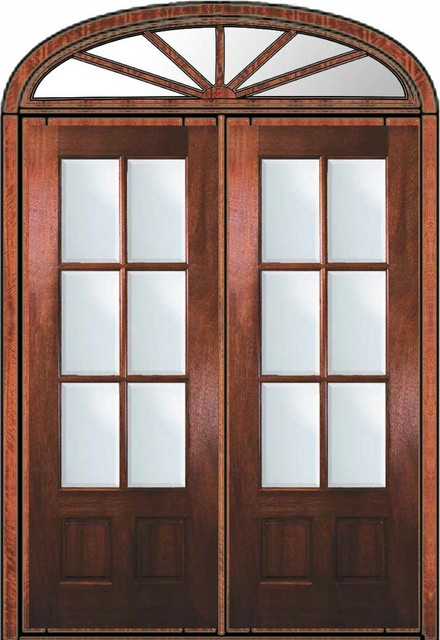 Prehung Patio Transom Double Door 96 Mahogany 3/4 Lite 6 Lite traditional-front-doors