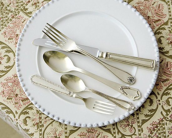 Ballard Designs - Estate 5pc Flatware Set - Includes Salad Fork, Dinner Fork, Knife, Soup Spoon & Teaspoon. Great with mixed dinnerware. Dishwasher safe. We found the originals at a flea market and had the vintage patterns for our Estate Flatware recreated in every pretty detail. Each piece in the 5-piece set has a different design for a collected vintage look. Crafted of brass and 18/8 stainless steel for a nicely weighted feel.Estate 5-Piece Flatware Set features: . . .