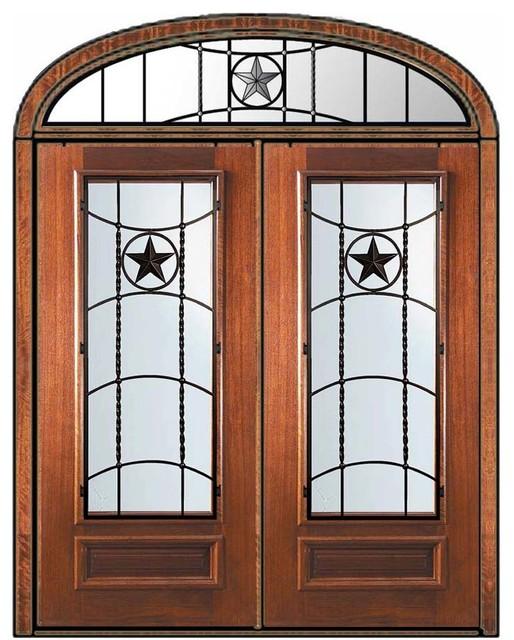 Pre Hung Transom Double Door 80 Wood Mahogany Texan Texas Star Eclectic Front Doors Tampa
