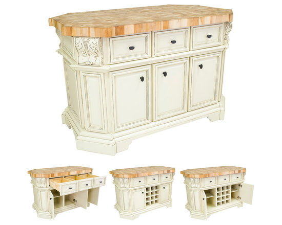 Hardware Resources - Kitchen Islands - Shown and priced with optional hard maple butcher block top (ISL06-TOP), but can be ordered without if you're looking to match your kitchen's counter material.