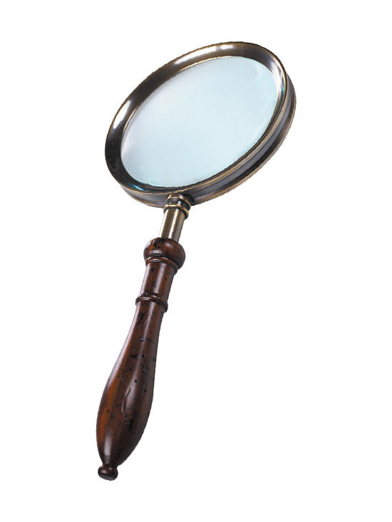 """Inviting Home - Regency Magnifier - Regency magnifier; 4-1/2"""" x 10-1/2""""H It always pays to have a close look! The signature on the painting you just purchased at that out-of-the-way estate sale. Check on your hunch it�s a Leonardo� Or study the hallmarks on the sterling polo trophy you took from that weekend trip to Buenos Aires. Or just retrace Sherlock�s trails in London�s Chelsea. Fingerprints hair and fibers?.. You need The Glass!!! Regency magnifier is a versatile attractive accessory of proven pedigree and gravitas. This magnifier is hand built in solid brass and rosewood."""