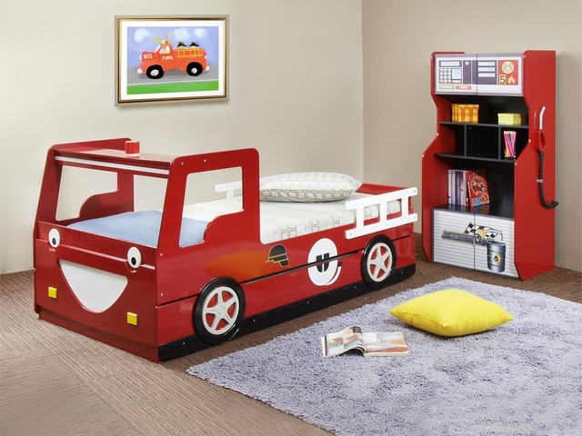 Red Smiling Fire Truck Twin Bedframe with Trundle modern-kids-beds