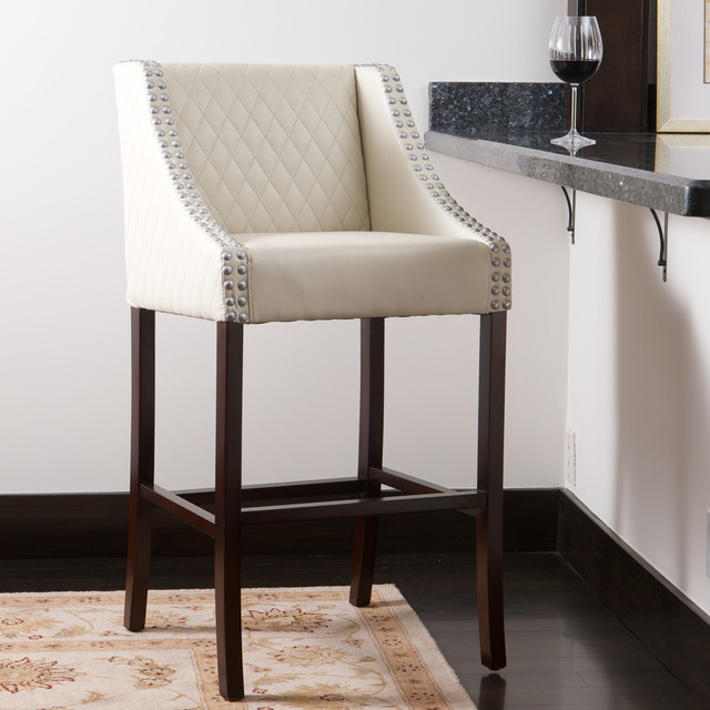 Contemporary White Ivory Leather Counter Stool