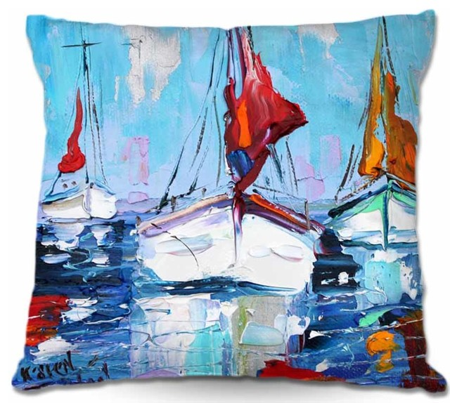 Pillow Woven Poplin from DiaNoche Designs - Three Sunbathing Sailboats contemporary-decorative-pillows