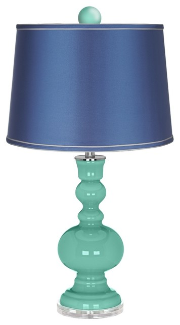 Contemporary Larchmere Apothecary Lamp-Finial and Satin Blue Shade contemporary-table-lamps