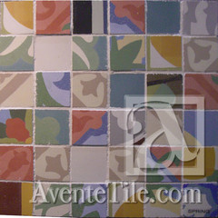 Handmade Cement Tile Fragments Large Square Mosaic - Spring