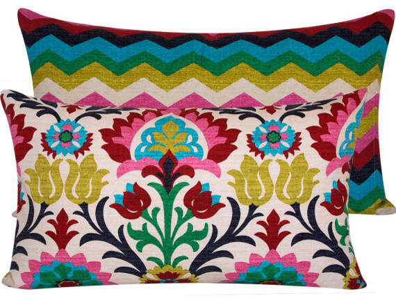Colorful Throw Pillow Cover eclectic pillows