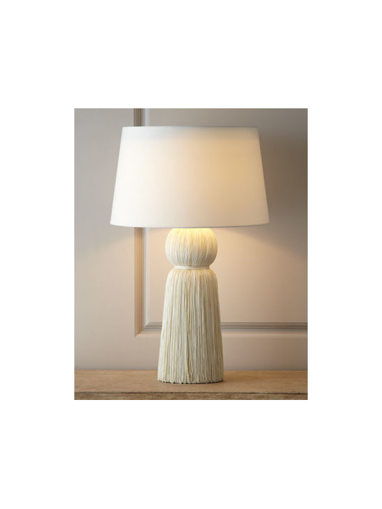 "Arteriors - Arteriors Ivory ""Tassel"" Table Lamp - We love the unexpected nature of this lamp. It's just so much fun. Handcrafted of strands of nylon over a metal frame. Polyester shade. Switch on socket; uses one 100-watt bulb. 18""Dia. x 29""T. Imported."