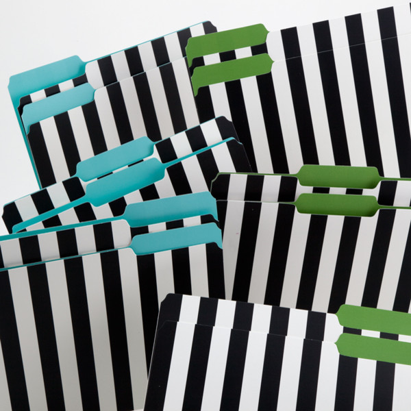 Kate Spade Black & White Striped File Folders - Contemporary - Desk Accessories - by See Jane Work
