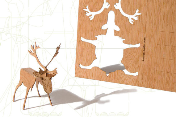Wood Deer Postcard by Formes Berlin contemporary-holiday-decorations