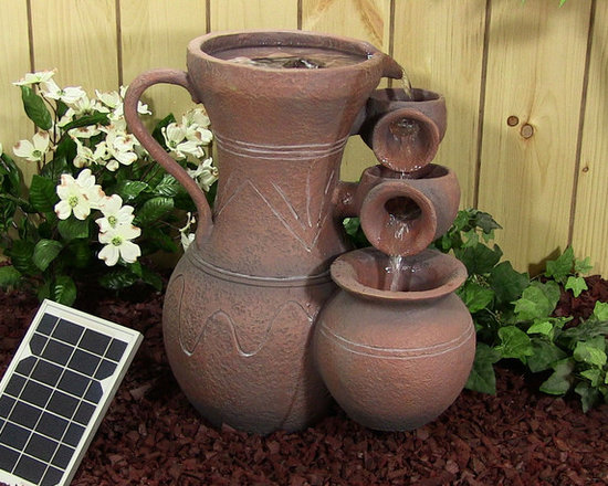 Outdoor Classics - Pitcher Cascade Solar On Demand Fountain - This piece mimics a clay pitcher that flows into smaller clay pots but is actually made from a durable resin material.  It also has a solar powered pump that can charge and pump water even when direct sunlight isn't possible.