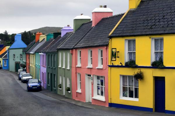 Irish Colorful Row Houses modern-artwork