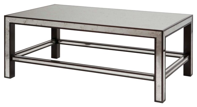 Daphne Hollywood Regency Espresso Antique Mirror Coffee Table contemporary-coffee-tables