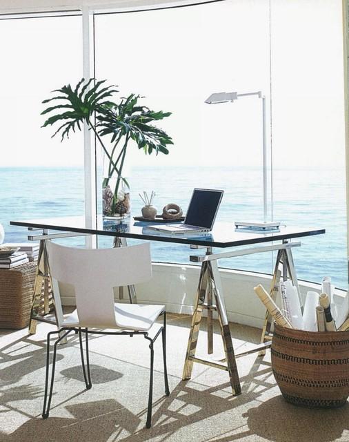 glass sawhorse desk modern-desks-and-hutches