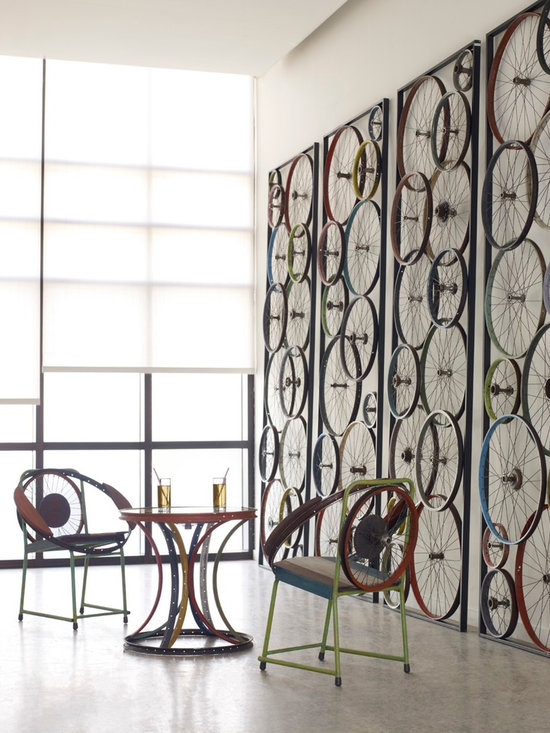 Bicycle Panels, Lounge Chairs and Occasional Table -