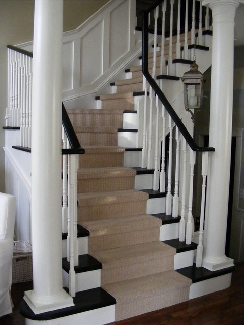 classic stairs with panelling traditional-staircase