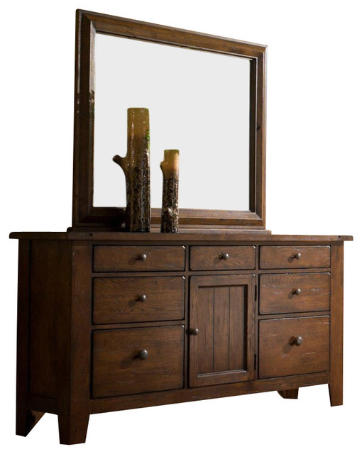 Broyhill Attic Heirlooms Oak Stain 7 Drawer Door Dresser With Mirror Farmhouse Dressers By